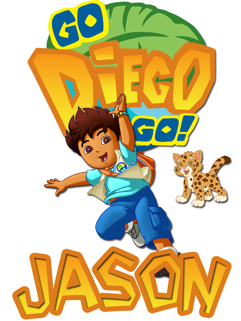 Personalized Go Diego Go T-shirt With Name Tee Shirt NEW Great Gift!