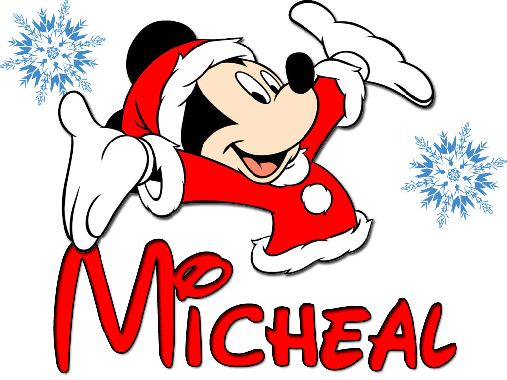 Personalized Disney Mickey Mouse Christmas T-shirt With Name Tee Shirt NEW Great Gift!