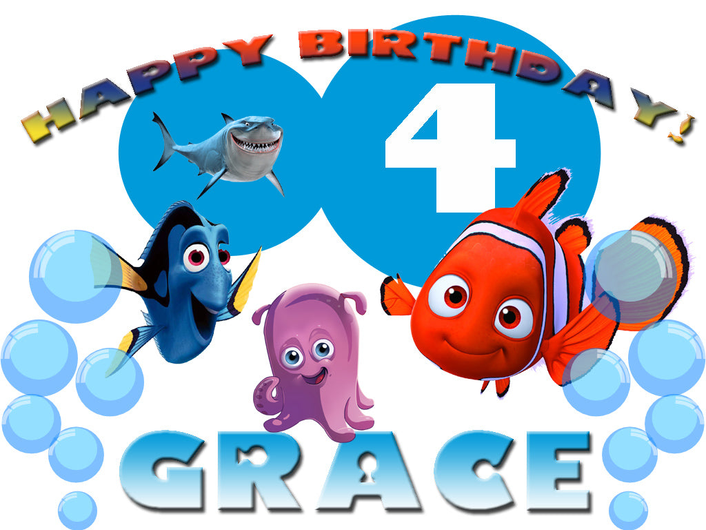 Personalized Custom Disney Finding Nemo Birthday Shirt T-shirt Very Cute!