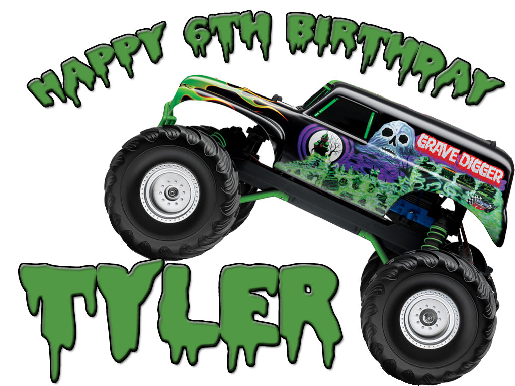 Personalized Custom Birthday T-shirt Moster Truck Grave Digger Monster Jam