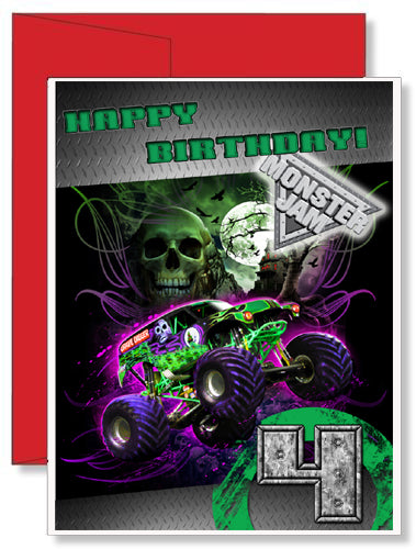 personalized birthday greeting card grave digger monster