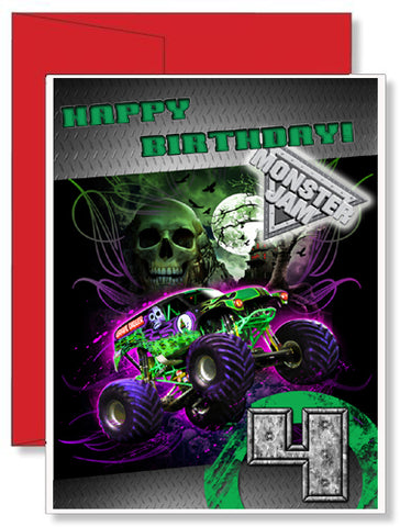 Personalized Birthday Greeting Card Moster Truck Grave Digger Monster Jam