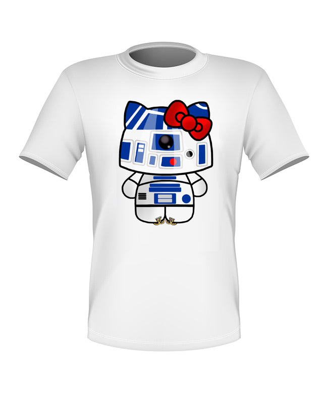 Brand New Fun Custom Hello KItty T-shirt Star Wars R2 D2 All Sizes Nice!