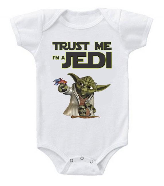 Very Cute Funny Baby Bodysuits Creeper Star Wars Trust Me Jedi #3