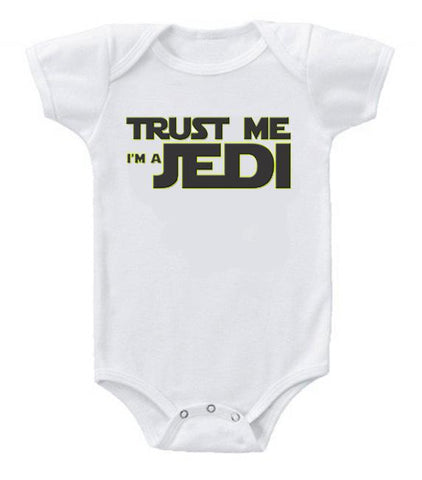 Very Cute Funny Baby Bodysuits Creeper Star Wars Trust Me Jedi