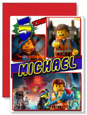 Personalized Birthday Greeting Card The Lego Movie