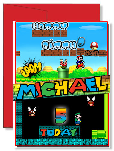 Personalized Birthday Greeting Card Super Mario Brothers