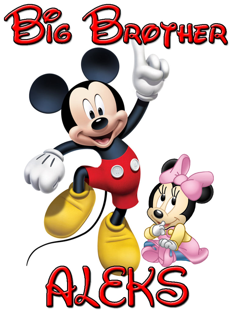 Personalized Big Brother Mickey Mouse Shirt with Baby Minnie Mouse Very Cute! #2