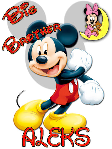 Personalized Big Brother Mickey Mouse Shirt with Baby Minnie Mouse Very Cute! #4