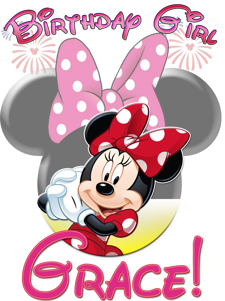 Personalized Custom Disney Birthday Minnie Mouse Shirt T-shirt Very Cute! #4