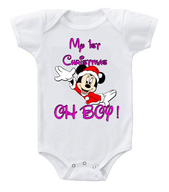 Very Cute Funny Baby Bodysuits Creeper Disney Minnie 1st Christmas