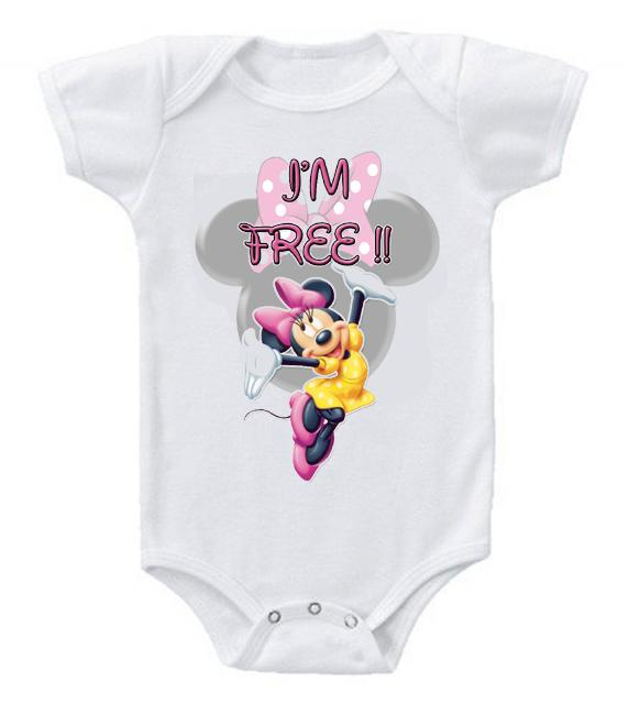Very Cute Funny Baby Bodysuits Creeper Disney Minnie Mouse I'm Free!