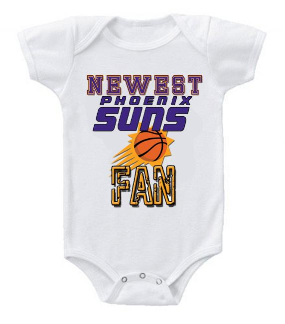 Cute Funny Baby Bodysuits Creeper Basketball NBA Phoenix Suns Newest Fan #3