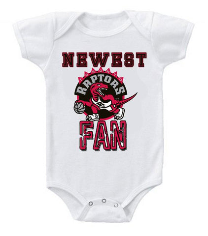 Cute Funny Baby Bodysuits Creeper Basketball NBA Toronto Raptors Newest Fan #3