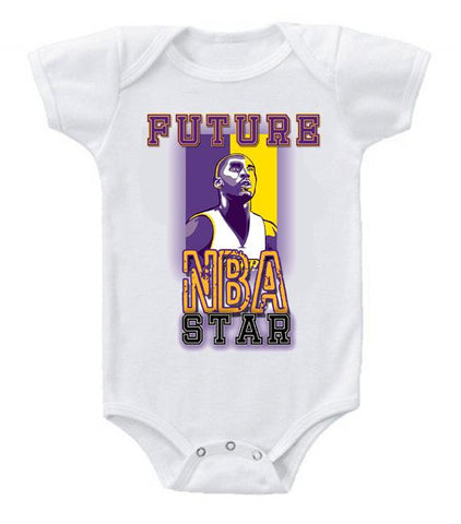 Cute Funny Baby Bodysuits Creeper Basketball NBA LA Lakers Future Kobe