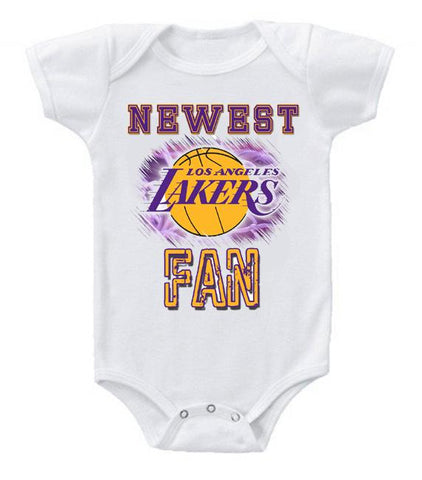 Cute Funny Baby Bodysuits Creeper Basketball NBA LA Lakers Newest Fan
