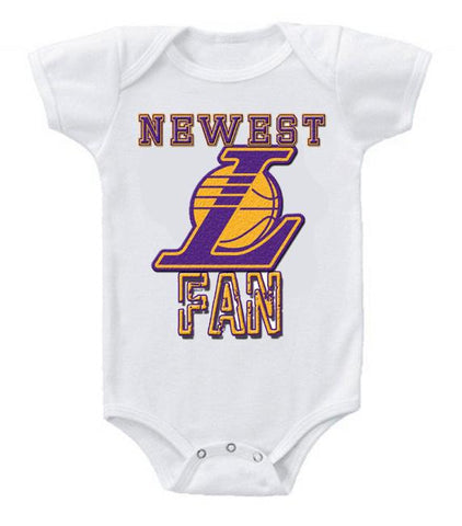 Cute Funny Baby Bodysuits Creeper Basketball NBA LA Lakers Newest Fan #2