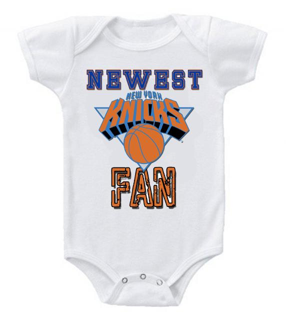 Cute Funny Baby Bodysuits Creeper Basketball NBA New York Knicks Newest Fan #2