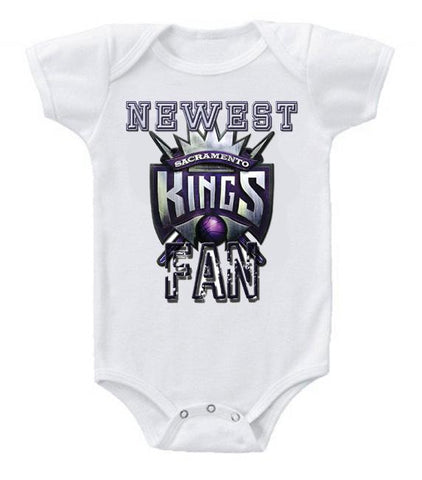 Cute Funny Baby Bodysuits Creeper Basketball NBA Sacramento Kings Newest Fan