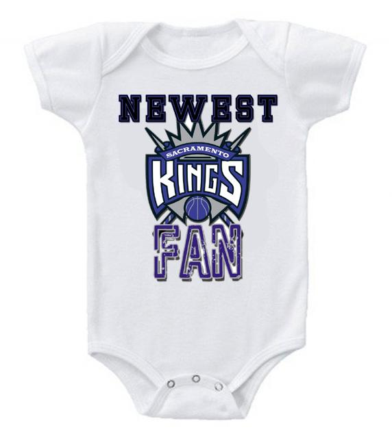 Cute Funny Baby Bodysuits Creeper Basketball NBA Sacramento Kings Newest Fan #2
