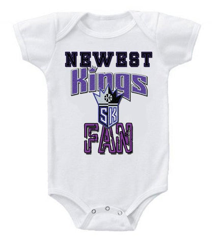 Cute Funny Baby Bodysuits Creeper Basketball NBA Sacramento Kings Newest Fan #3