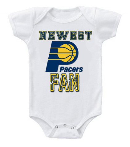 Cute Funny Baby Bodysuits Creeper Basketball NBA Indiana Pacers Newest Fan #2