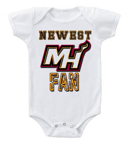 Cute Funny Baby Bodysuits Creeper Basketball NBA Miami Heat Newest Fan