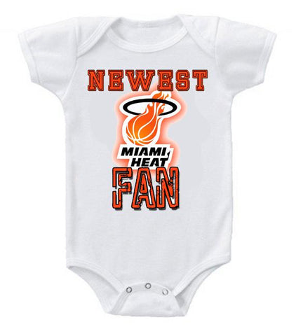Cute Funny Baby Bodysuits Creeper Basketball NBA Miami Heat Newest Fan #3