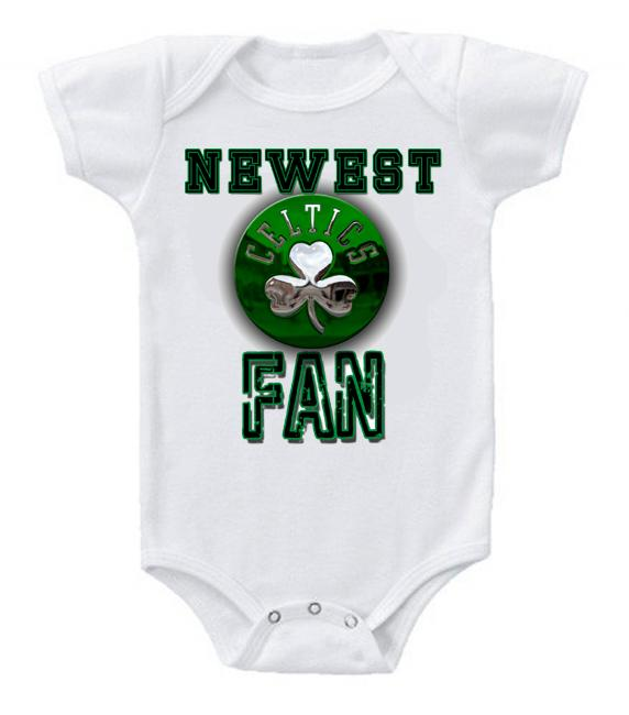 Cute Funny Baby Bodysuits Creeper Basketball NBA Boston Celtics Newest Fan