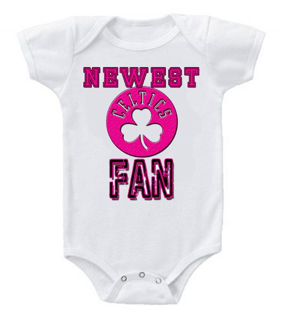 Cute Funny Baby Bodysuits Creeper Basketball NBA Boston Celtics Newest Fan #2