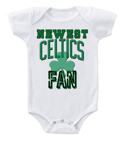 Cute Funny Baby Bodysuits Creeper Basketball NBA Boston Celtics Newest Fan #3