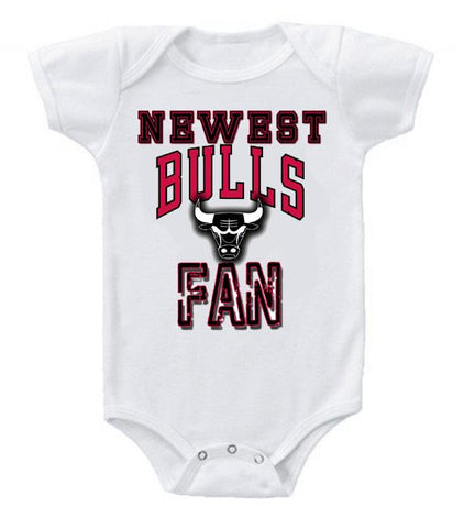 Cute Funny Baby Bodysuits Creeper Basketball NBA Chicago Bulls Newest Fan