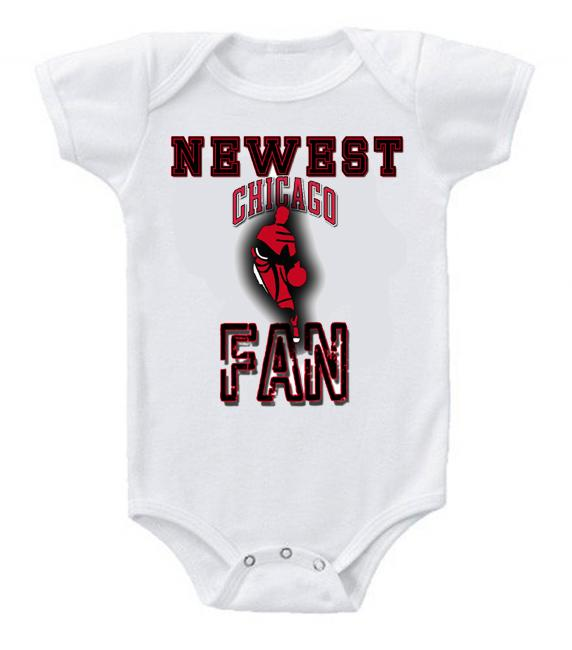 Cute Funny Baby Bodysuits Creeper Basketball NBA Chicago Bulls Newest Fan #2