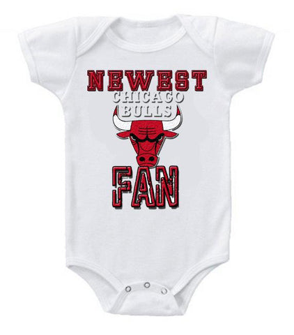 Cute Funny Baby Bodysuits Creeper Basketball NBA Chicago Bulls Newest Fan #3