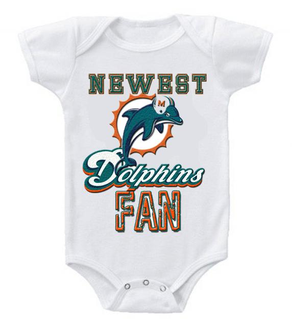 Cute Funny Baby Bodysuits Creeper Football NFL Miami Dolphins