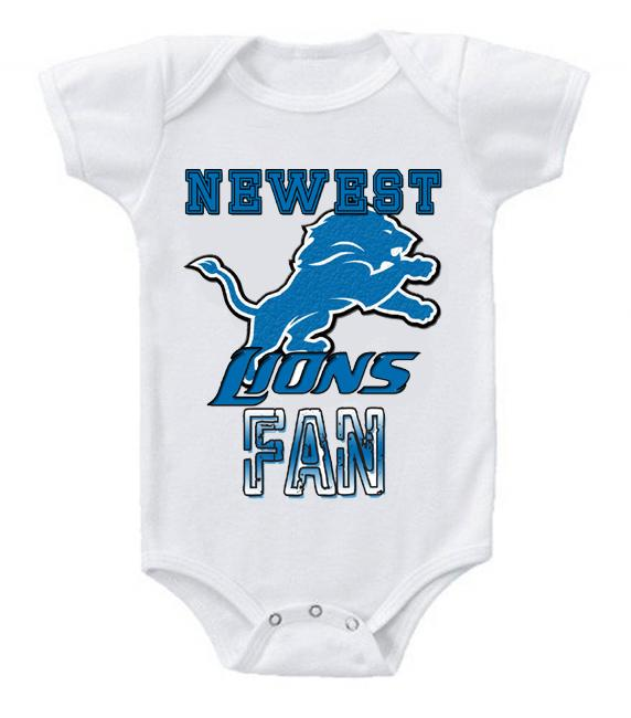 Cute Funny Baby Bodysuits Creeper Football NFL Detroit Lions