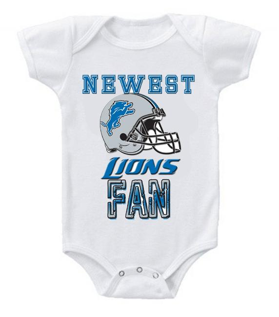 Cute Funny Baby Bodysuits Creeper Football NFL Detroit Lions #2