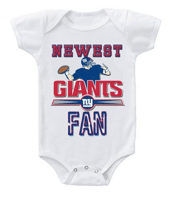 Cute Funny Baby Bodysuits Creeper Football NFL New York Giants #2