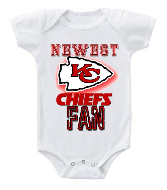 Cute Funny Baby Bodysuits Creeper Football NFL Kansas City Chiefs