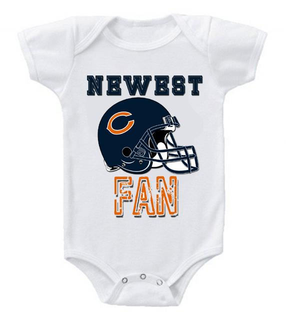 Cute Funny Baby Bodysuits Creeper Football NFL Chicago Bears #3