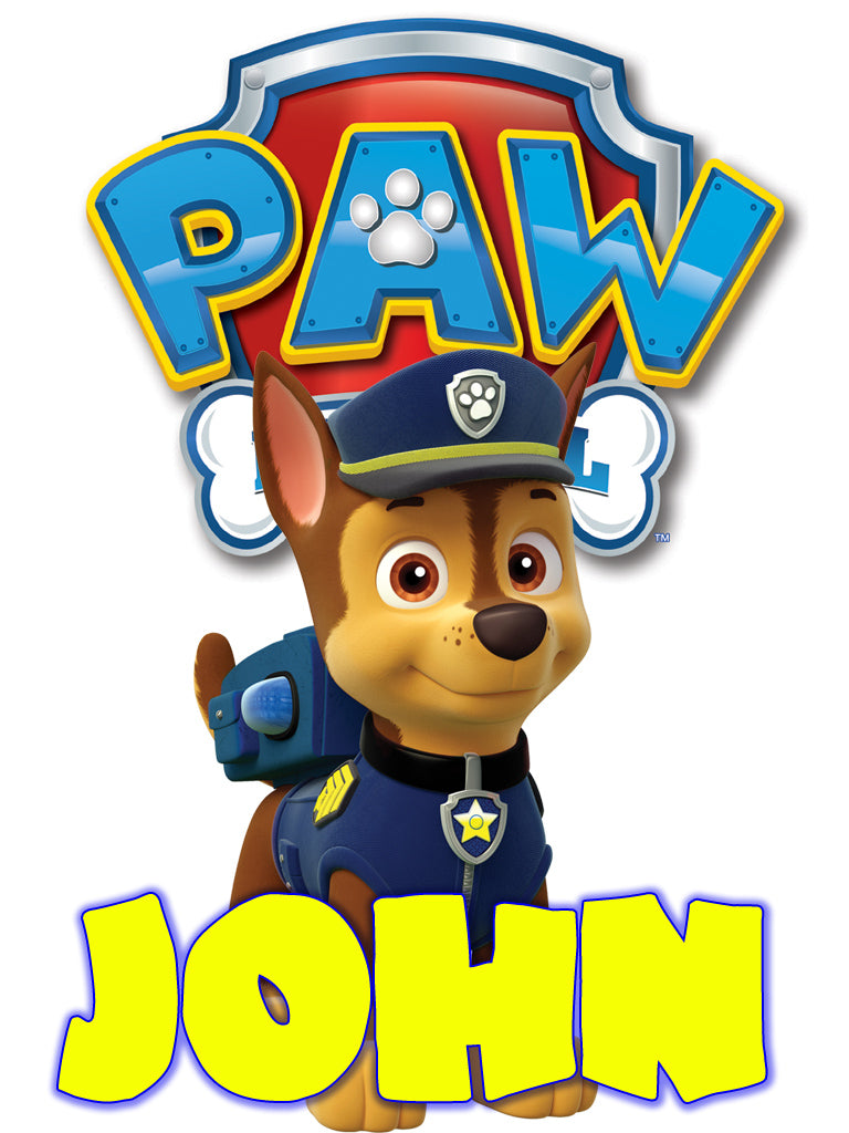 Personalized Paw Patrol Chase T-shirt With Name Tee Shirt NEW Great Gift!
