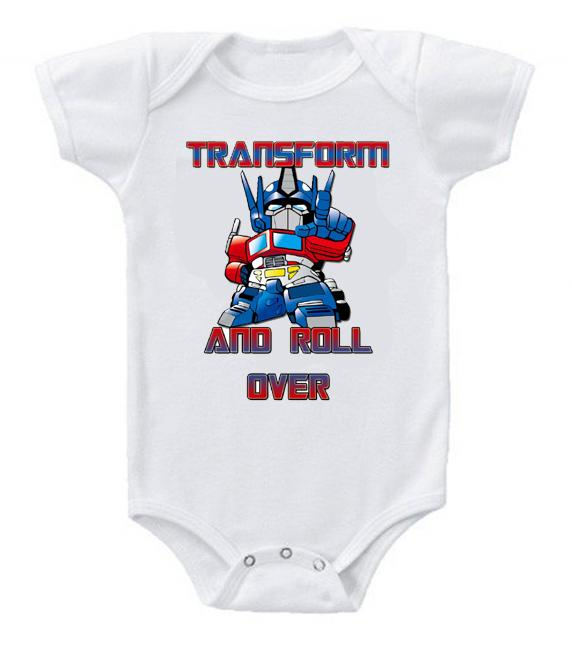 Very Cute Funny Baby Bodysuits Creeper Optimus Prime Transform and Roll Over