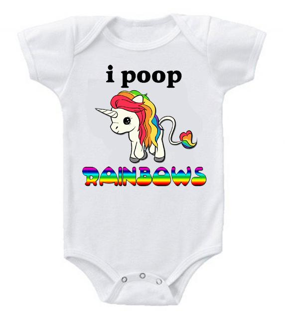 Very Cute Funny Baby Bodysuits Creeper Unicorn I Poop Rainbows