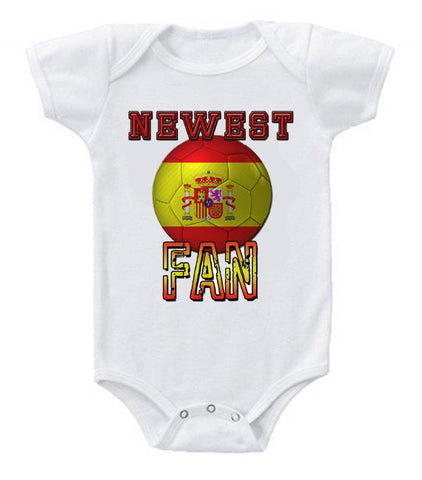 Cute Funny Baby Bodysuits Creeper World Cup Soccer Spain Newest Fan