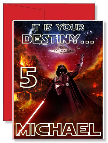 Personalized Birthday Greeting Card Star Wars Darth Vader