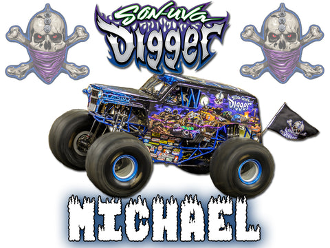 Personalized Son-uva Digger Monster Truck T-shirt With Name Tee Shirt NEW Great Gift!
