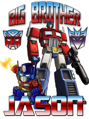 Personalized Big Brother Transformers Shirt with Optimus Prime Very Cute!