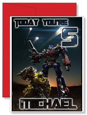 Personalized Birthday Greeting Card Transformers Optimus Prime Bumblebee