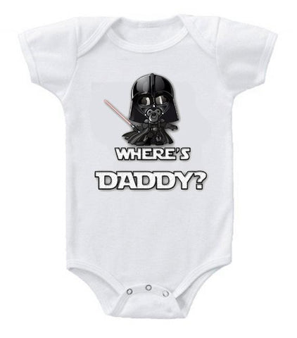 Very Cute Funny Baby Bodysuits Creeper Star Wars Vader Where's Daddy