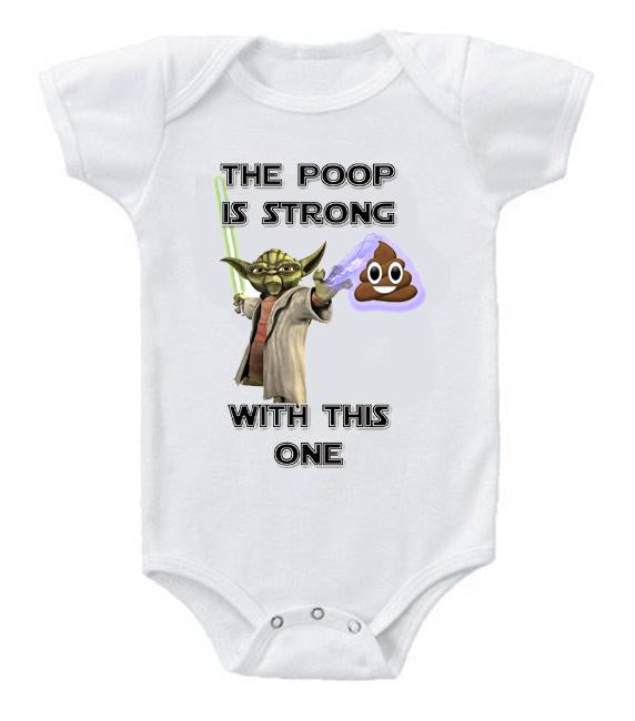 Very Cute Funny Baby Bodysuits Creeper Star Wars Yoda Poop is Strong